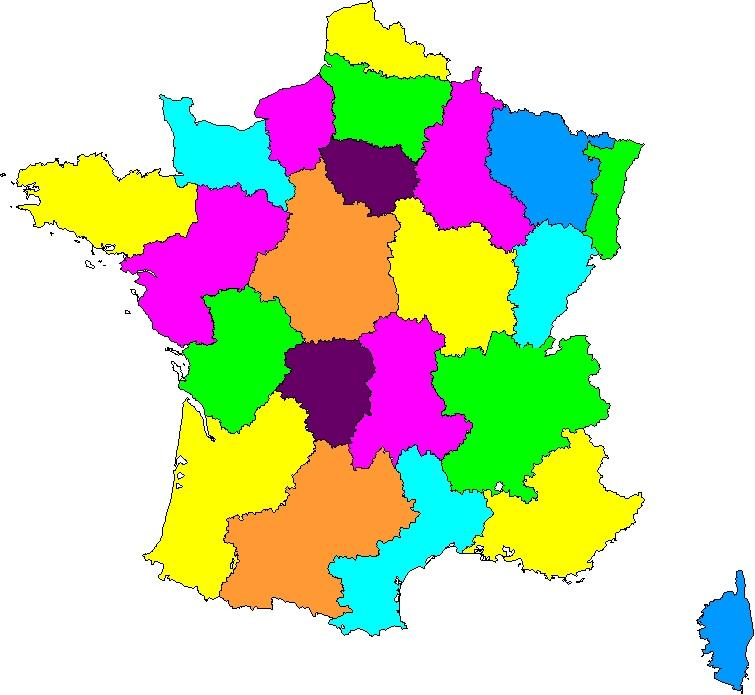 Carte Des Régions De France Sans Les Noms | My blog